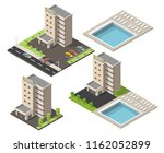 isometric hotel building with... | Shutterstock .eps vector #1162052899