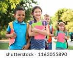 cute little children with... | Shutterstock . vector #1162055890