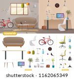 living room and office interior.... | Shutterstock .eps vector #1162065349