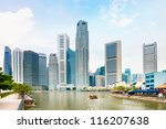 Singapore Quay With Tall...