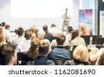speaker giving a talk in... | Shutterstock . vector #1162081690
