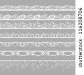 set of horizontal lace borders | Shutterstock .eps vector #116208706