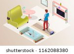 cleaning in the apartment  at... | Shutterstock .eps vector #1162088380