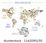 flat world flora and fauna map... | Shutterstock .eps vector #1162090150