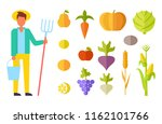 harvester person with bucket... | Shutterstock .eps vector #1162101766