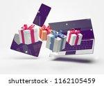 notebook desktop with... | Shutterstock . vector #1162105459