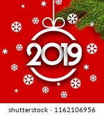 red 2019 new year background... | Shutterstock .eps vector #1162106956