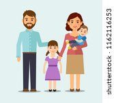 happy family on isolated... | Shutterstock .eps vector #1162116253