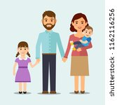 happy family on isolated... | Shutterstock .eps vector #1162116256