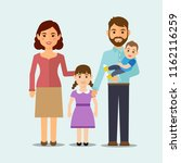 happy family on isolated... | Shutterstock .eps vector #1162116259