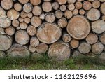 firewood in woodpile  prepared... | Shutterstock . vector #1162129696
