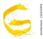 yellow liquid alphabet letter g | Shutterstock . vector #116214343
