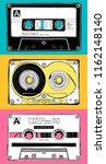 vintage three different audio... | Shutterstock .eps vector #1162148140