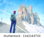 backpacker on trip aound  tre...   Shutterstock . vector #1162163710