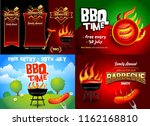 bbq 4 colorful poster designs ... | Shutterstock .eps vector #1162168810