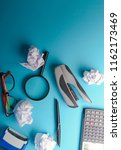 desk with tools and notebook... | Shutterstock . vector #1162173469