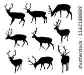black deer silhouettes  raster... | Shutterstock . vector #1162188889
