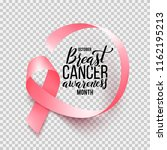 realistic pink ribbon isolated... | Shutterstock .eps vector #1162195213