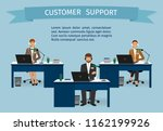 call center employee characters ... | Shutterstock . vector #1162199926