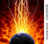 Abstract scientific background - planet Earth in dark red sky with lightnings. Elements of this image furnished by NASA - stock photo