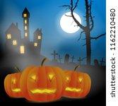 scary vector haloween landscape ... | Shutterstock .eps vector #1162210480