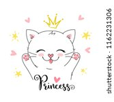Stock vector cute vector girly princess kitten can be used for greeting card kids t shirt design print or 1162231306