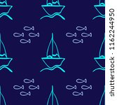 repeated outline of sailboats... | Shutterstock .eps vector #1162244950