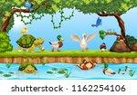 animals in a pond scene... | Shutterstock .eps vector #1162254106
