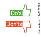 do's and don'ts like thumbs up...   Shutterstock .eps vector #1162263589