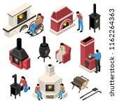 set of isometric fire places... | Shutterstock .eps vector #1162264363