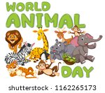 a wold animal day template... | Shutterstock .eps vector #1162265173