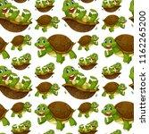 happy turtle seamless wallpaper ... | Shutterstock .eps vector #1162265200