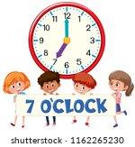 children and clock on white... | Shutterstock .eps vector #1162265230
