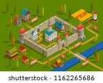 medieval fortified castle... | Shutterstock .eps vector #1162265686