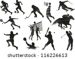 collection of silhouettes of... | Shutterstock .eps vector #116226613