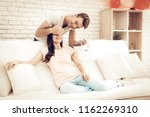 guy makes a gift to girlfriend...   Shutterstock . vector #1162269310