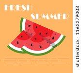 watermelon sliced fruit juicy...   Shutterstock .eps vector #1162279003