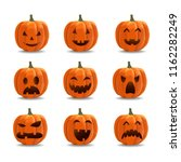 pumpkin emoticon set ... | Shutterstock .eps vector #1162282249