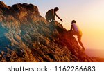 people helping each other hike... | Shutterstock . vector #1162286683