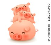 pig pile. three little pig.... | Shutterstock .eps vector #1162291990