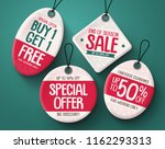 sale tag vector set. paper... | Shutterstock .eps vector #1162293313