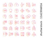 smart home icons red line design | Shutterstock .eps vector #1162306816