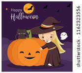 vector of cute witch for... | Shutterstock .eps vector #1162323556