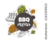 bbq menu concept design. grill... | Shutterstock .eps vector #1162335013