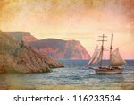 Sailing Ship Sails Along The...