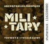 military stencil alphabet font. ... | Shutterstock .eps vector #1162338880