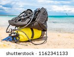 equipment of a scuba diver  an... | Shutterstock . vector #1162341133