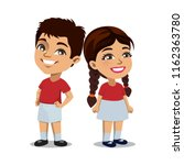 a little boy and girl wearing...   Shutterstock .eps vector #1162363780