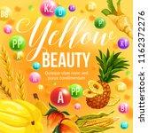 yellow color beauty diet poster ... | Shutterstock .eps vector #1162372276
