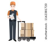 man and crate on handcart icon  ...   Shutterstock .eps vector #1162381720
